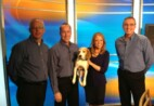 Three Wil-Kil employees and female newscaster holding Beagle.