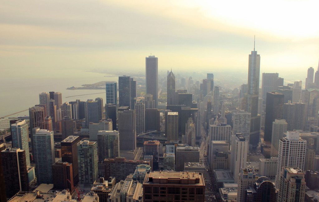 Skyview of downtown Chicago.