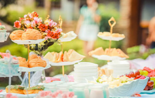 Table of food at outdoor party