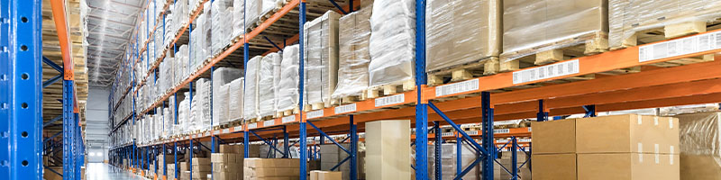 Aisle in warehouse of boxes